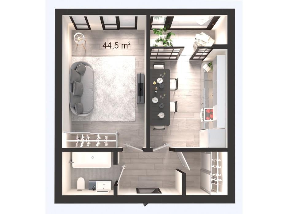 Планування 1-кімнатної квартири в ЖК Вертикаль 44.5 м², фото 247833