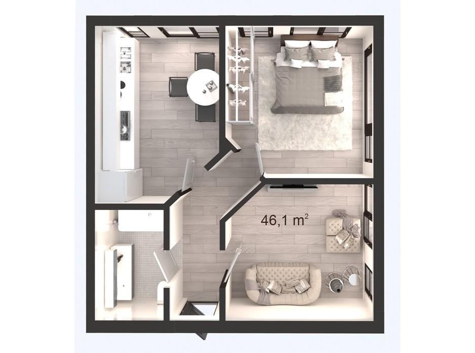 Планування 2-кімнатної квартири в ЖК Вертикаль 46.1 м², фото 247834