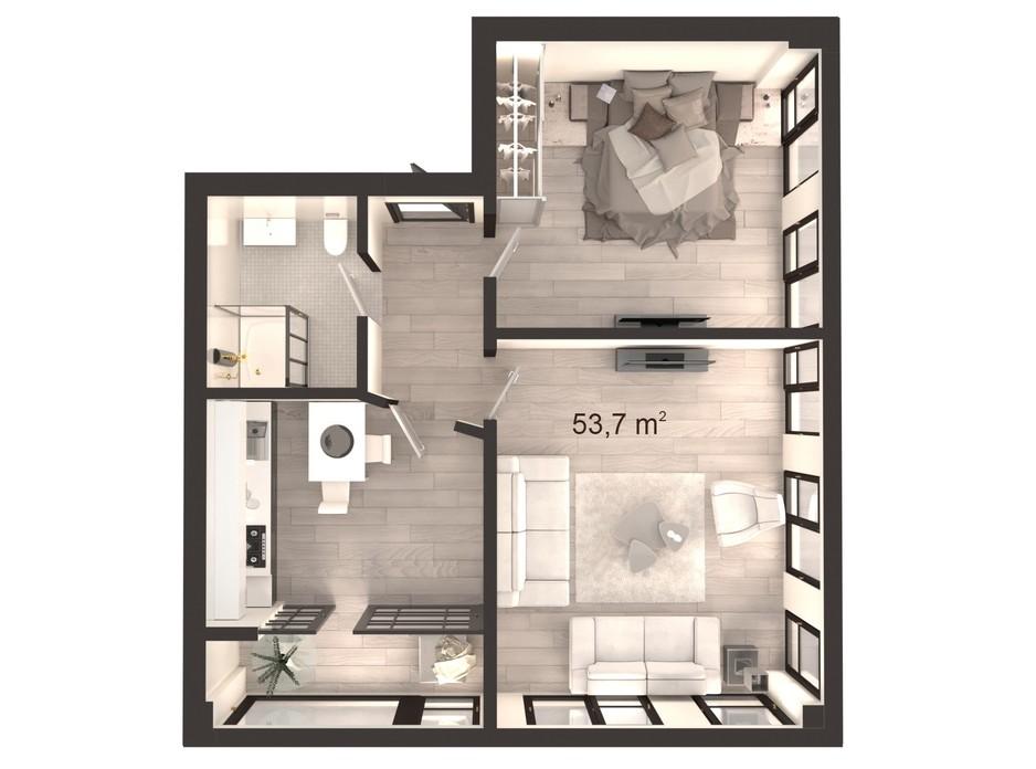 Планування 2-кімнатної квартири в ЖК Вертикаль 53.7 м², фото 247836