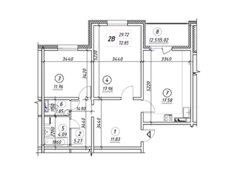 Планировка 2-комнатной квартиры в ЖК Ревуцкий 72.85 м², фото 248495