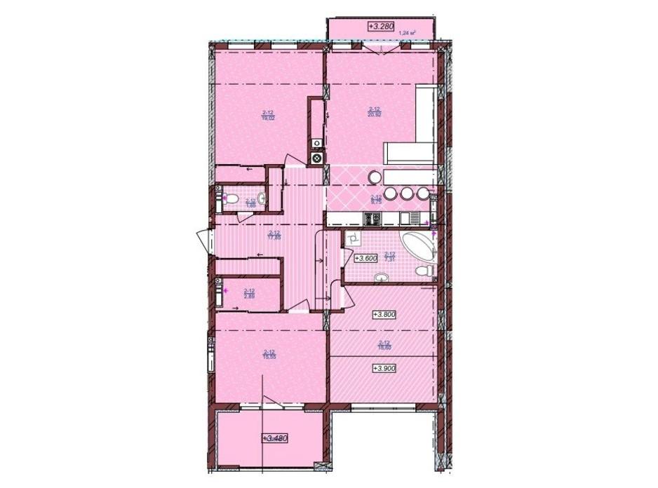 Планировка 3-комнатной квартиры в ЖК по ул. Антоновича 32 119 м², фото 248985