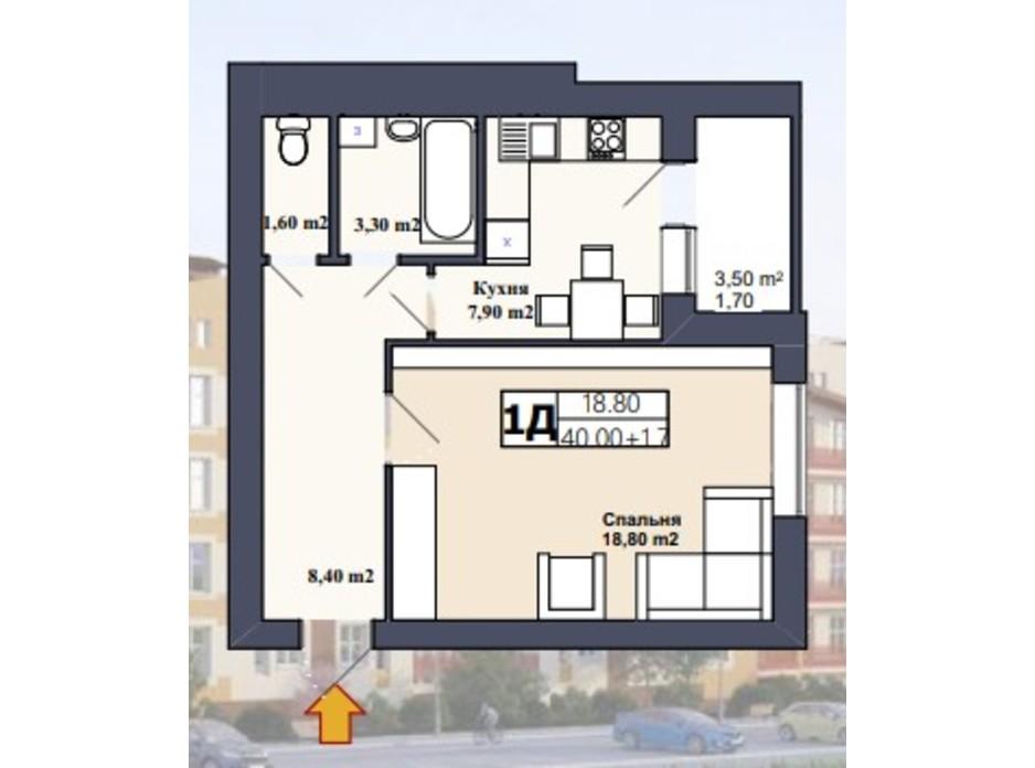 Планировка 1-комнатной квартиры в ЖК Саме той 43 м², фото 249027