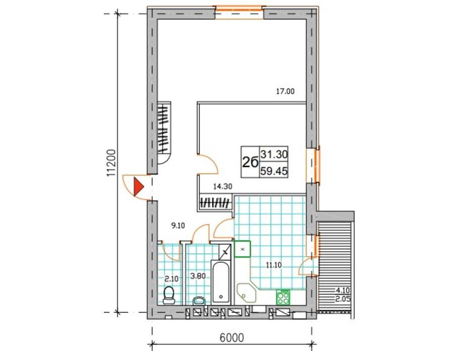 Планировка 2-комнатной квартиры в ЖК Саме той 59.7 м², фото 249028