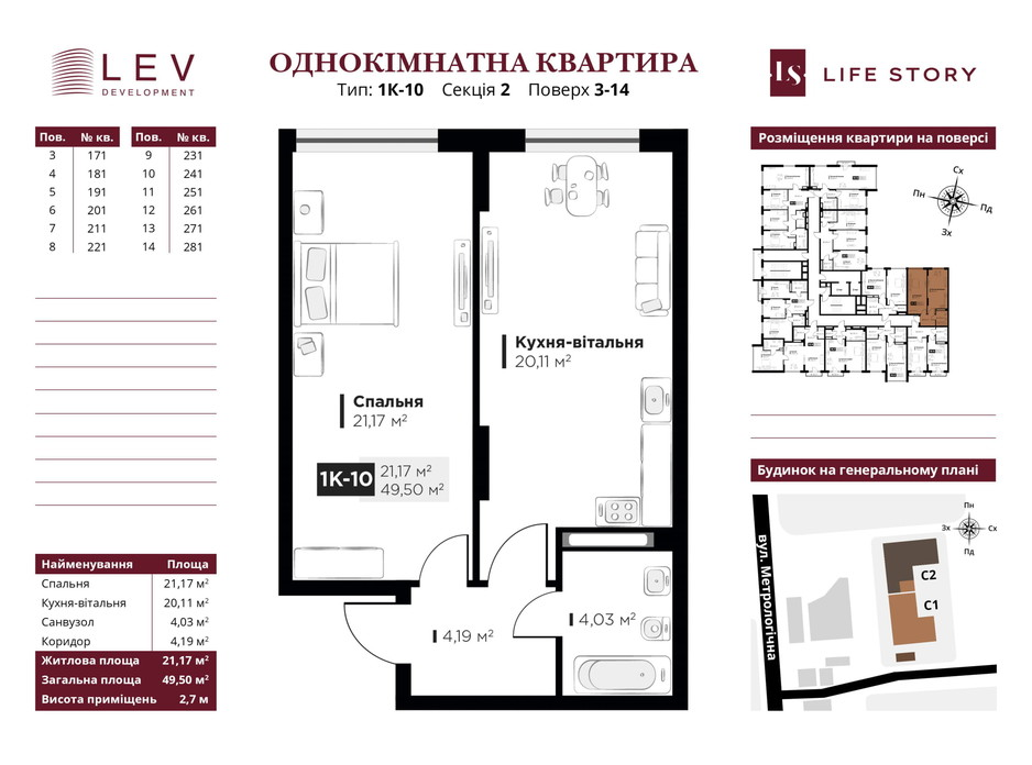 Планування 1-кімнатної квартири в ЖК Life Story 49.93 м², фото 249429