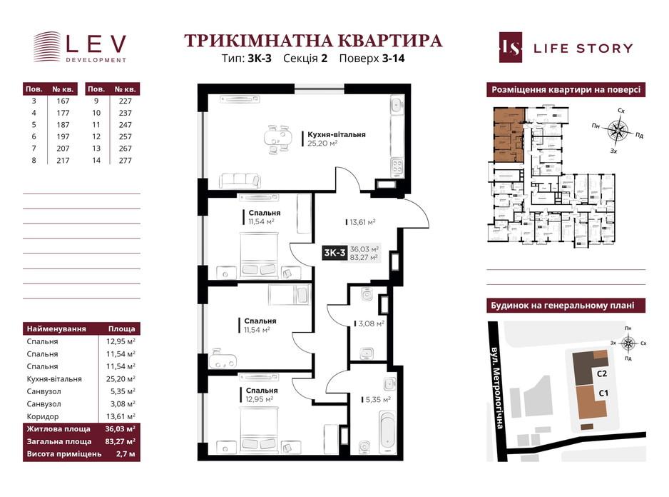 Планировка 3-комнатной квартиры в ЖК Life Story 94.28 м², фото 249454