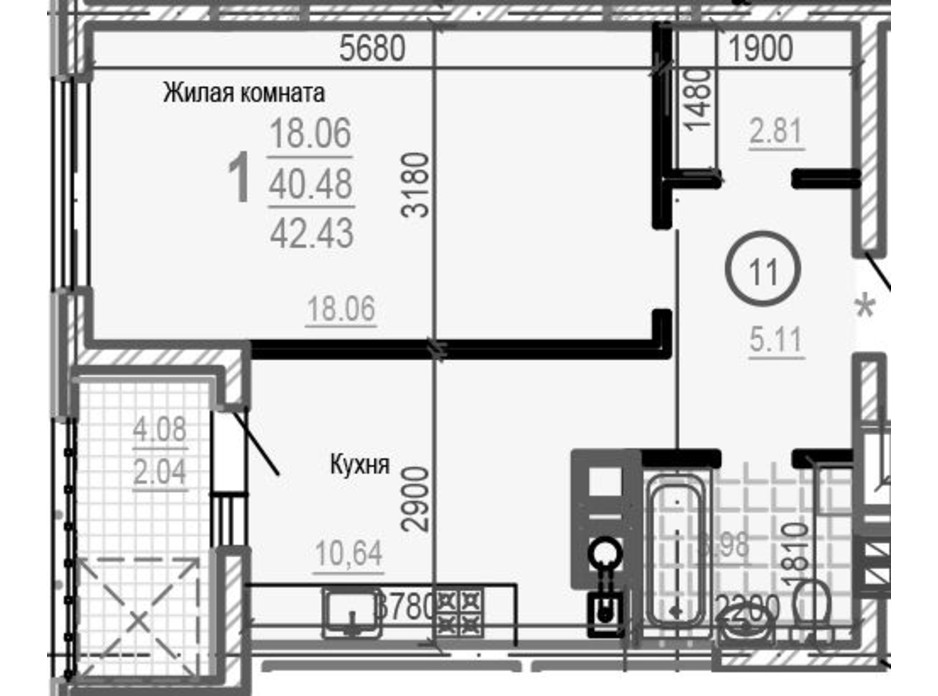 Планировка 1-комнатной квартиры в ЖК Брюссель 42.43 м², фото 249464