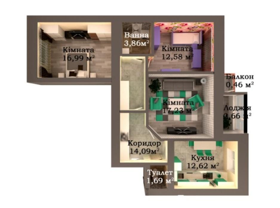 Планування 3-кімнатної квартири в ЖК Caramel Residence 82.18 м², фото 249588