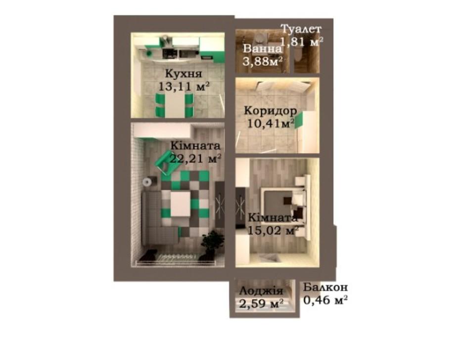 Планування 2-кімнатної квартири в ЖК Caramel Residence 69.49 м², фото 249589