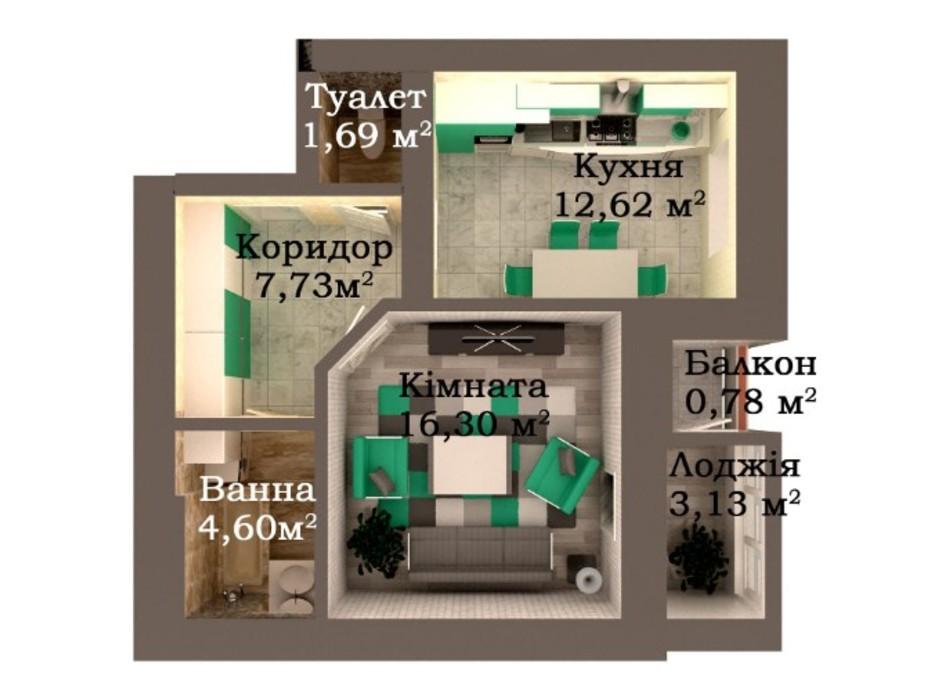 Планировка 1-комнатной квартиры в ЖК Caramel Residence 46.86 м², фото 249590