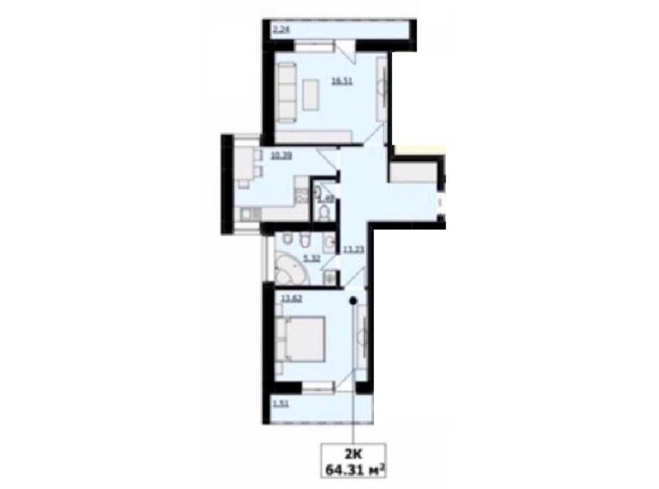 Планировка 2-комнатной квартиры в ЖК Кошицький 64.29 м², фото 249642
