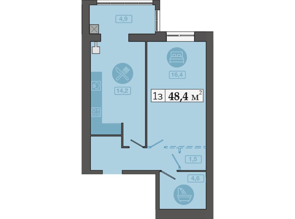 Планировка 1-комнатной квартиры в ЖК Счастливый на Днепре 48.4 м², фото 249706