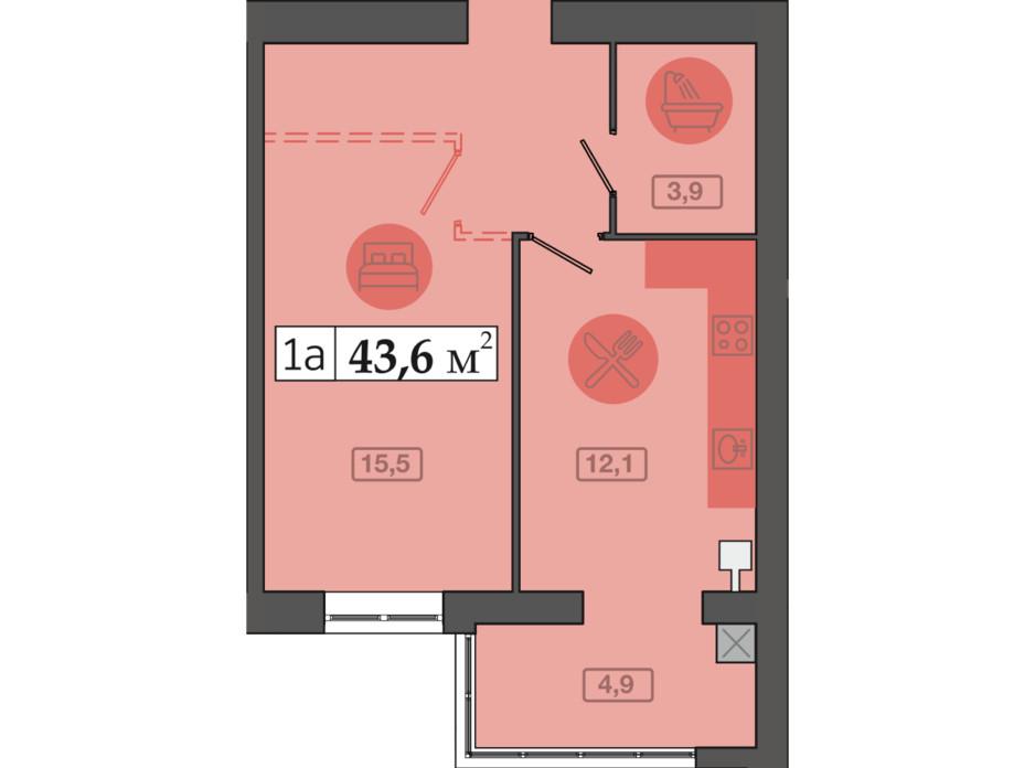 Планировка 1-комнатной квартиры в ЖК Счастливый на Днепре 43.6 м², фото 249709