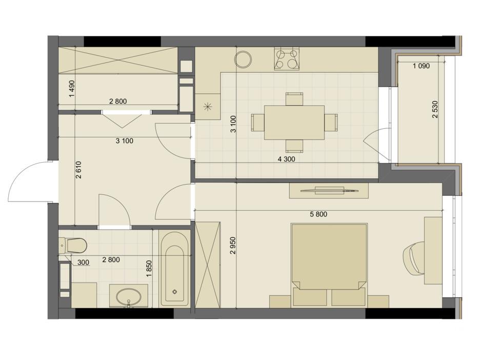 Планування 1-кімнатної квартири в ЖК High Hills 49.58 м², фото 250555