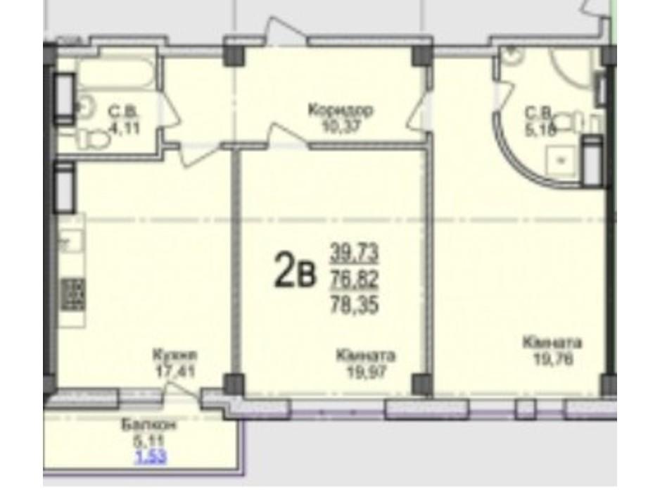 Планировка 2-комнатной квартиры в ЖК Свято-Троицкий посад 78.35 м², фото 250680