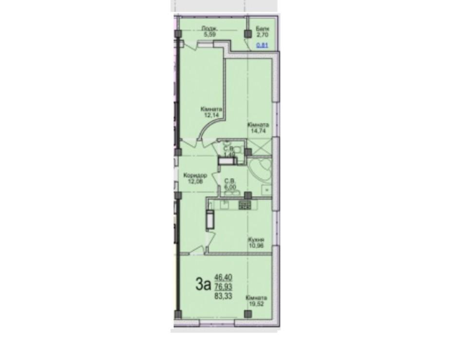 Планировка 3-комнатной квартиры в ЖК Свято-Троицкий посад 83.33 м², фото 250682