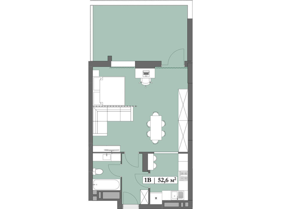 Планировка 1-комнатной квартиры в ЖК Lagom 52.6 м², фото 250837