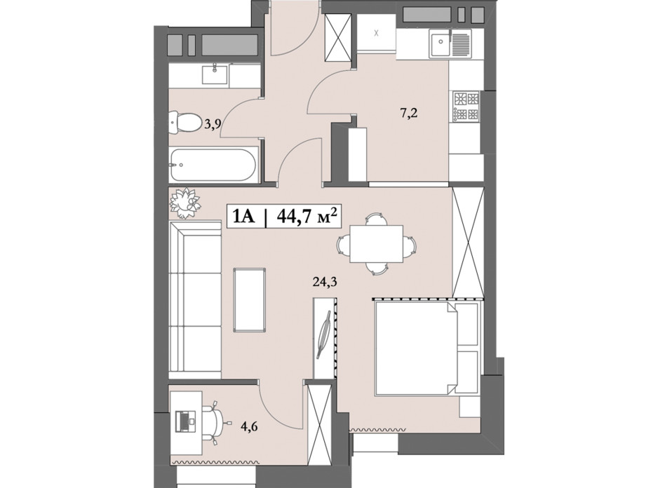 Планировка 1-комнатной квартиры в ЖК Lagom 44.7 м², фото 250844