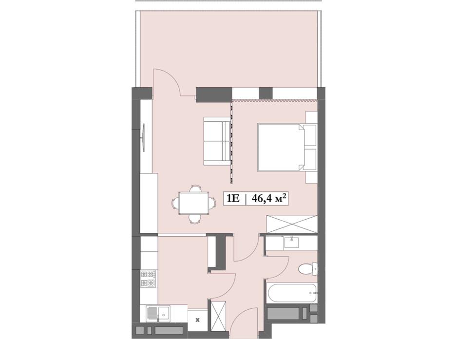 Планировка 1-комнатной квартиры в ЖК Lagom 46.4 м², фото 250848