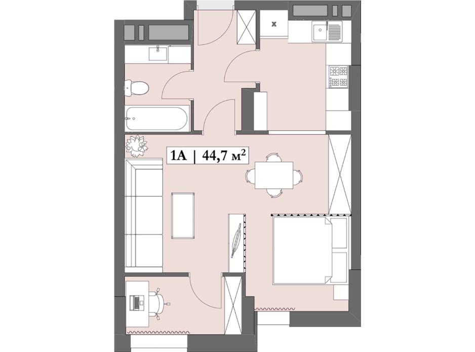 Планировка 1-комнатной квартиры в ЖК Lagom 44.67 м², фото 250849