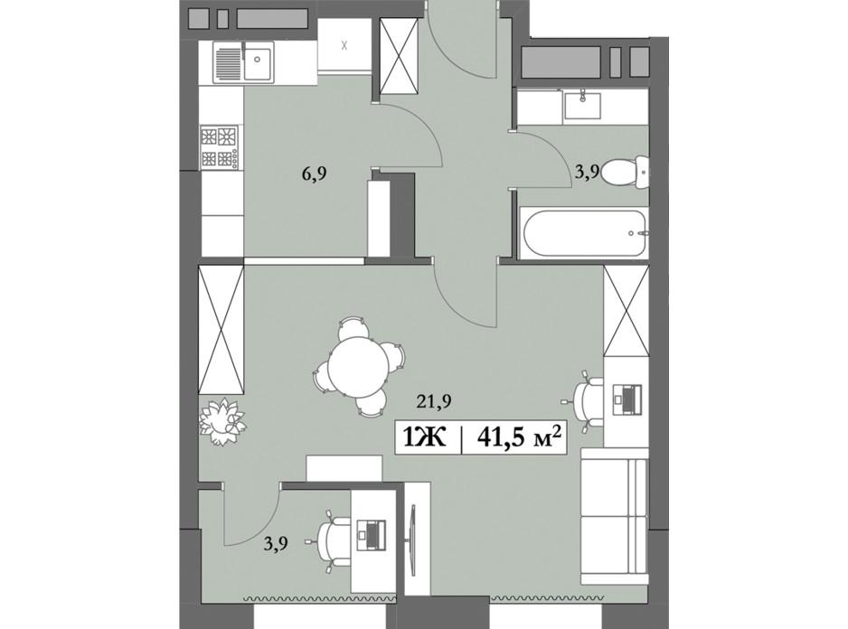 Планировка 1-комнатной квартиры в ЖК Lagom 41.5 м², фото 250851