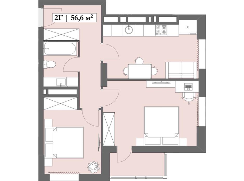Планировка 2-комнатной квартиры в ЖК Lagom 56.6 м², фото 250852