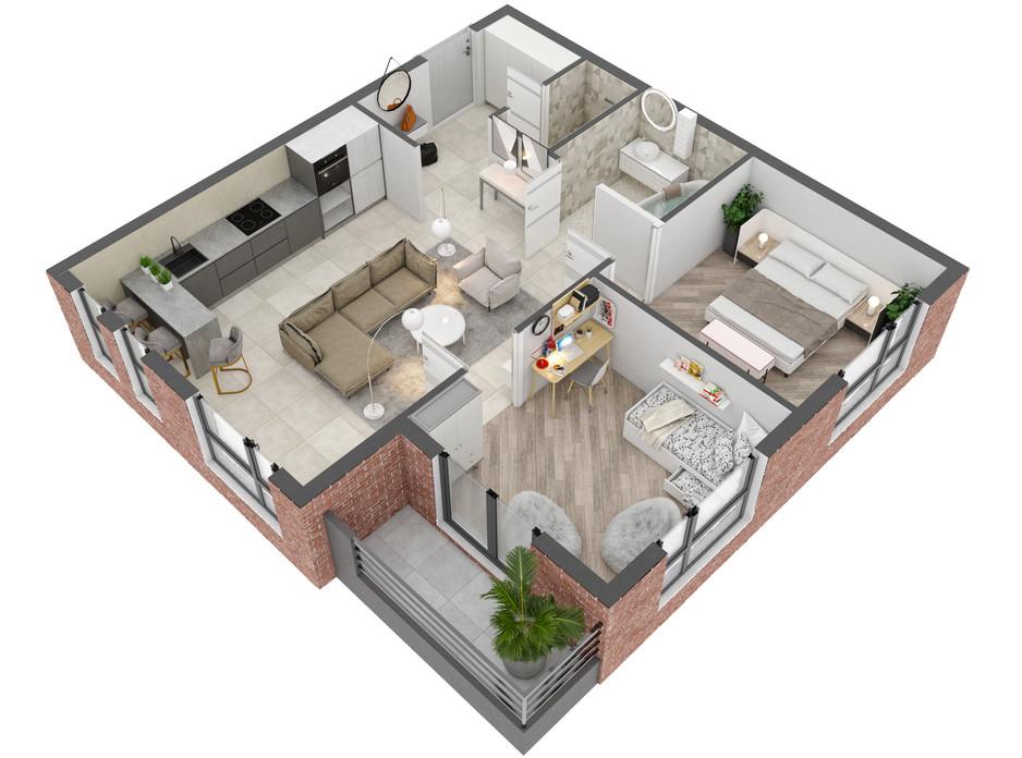 Планировка 2-комнатной квартиры в ЖК West Towers 61.04 м², фото 250883