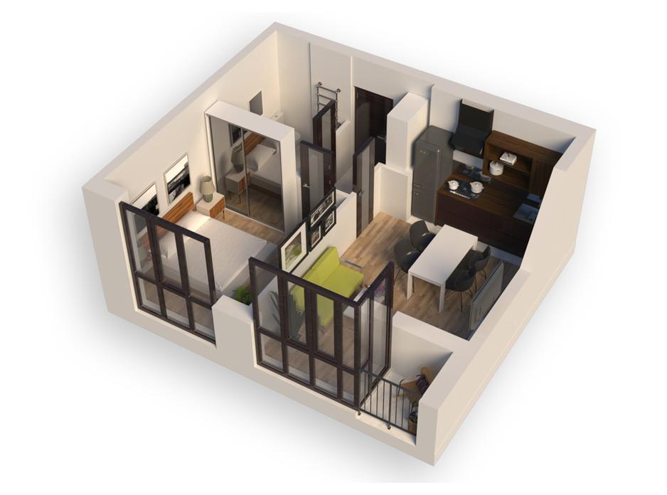 Планування 1-кімнатної квартири в ЖК Гостомель Residence 39.08 м², фото 250899