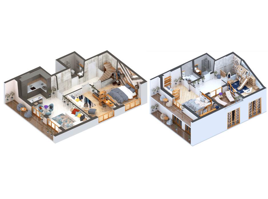 Планування багаторівневої квартири в ЖК Гостомель Residence 137.19 м², фото 250905