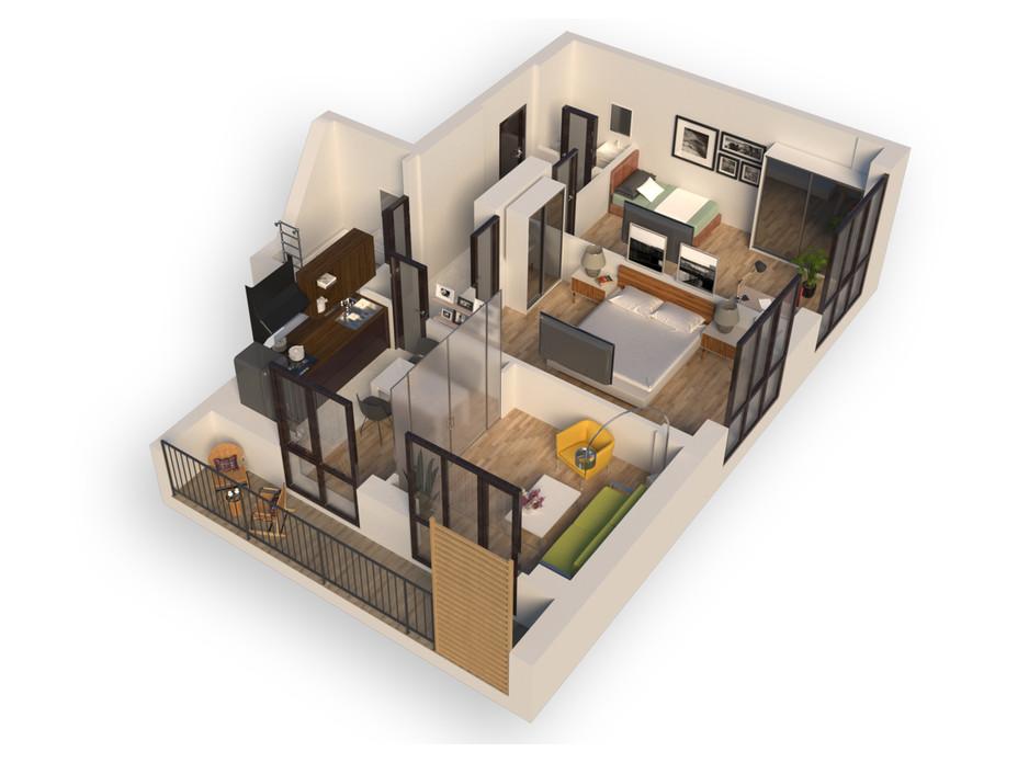 Планування 2-кімнатної квартири в ЖК Гостомель Residence 65.1 м², фото 250906