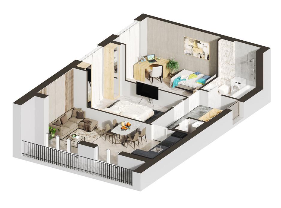 Планування 2-кімнатної квартири в ЖК Гостомель Residence 65.23 м², фото 250915