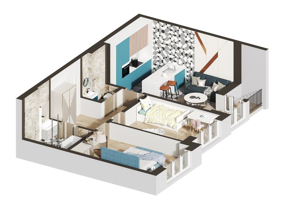 Планировка 2-комнатной квартиры в ЖК Гостомель Residence 54.51 м², фото 250916