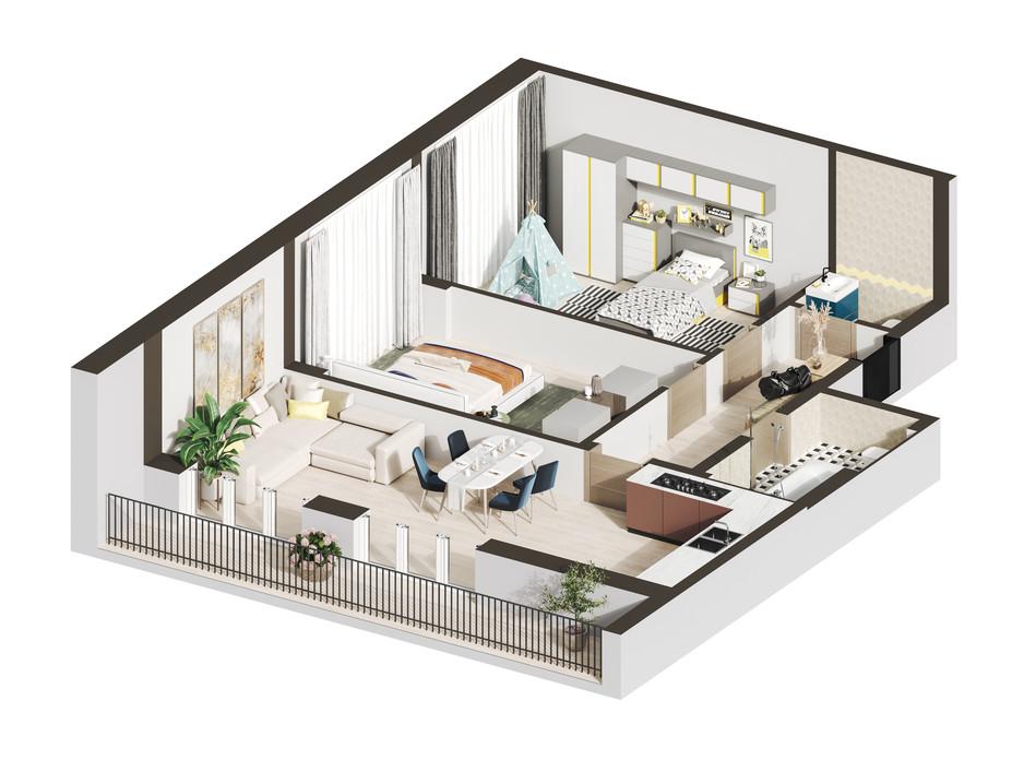 Планування 2-кімнатної квартири в ЖК Гостомель Residence 77.37 м², фото 250918