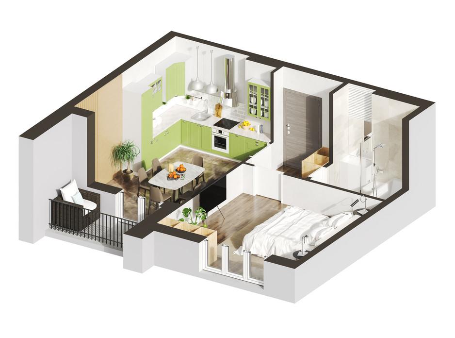 Планування 1-кімнатної квартири в ЖК Гостомель Residence 47.97 м², фото 250924