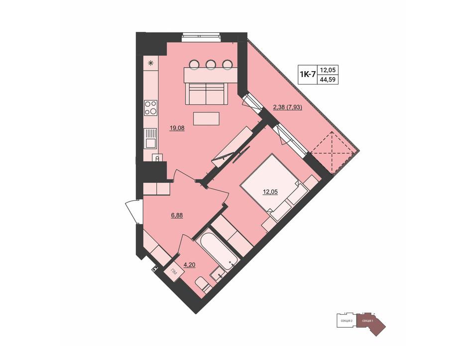 Планировка 1-комнатной квартиры в ЖК Mill town 44.59 м², фото 251331