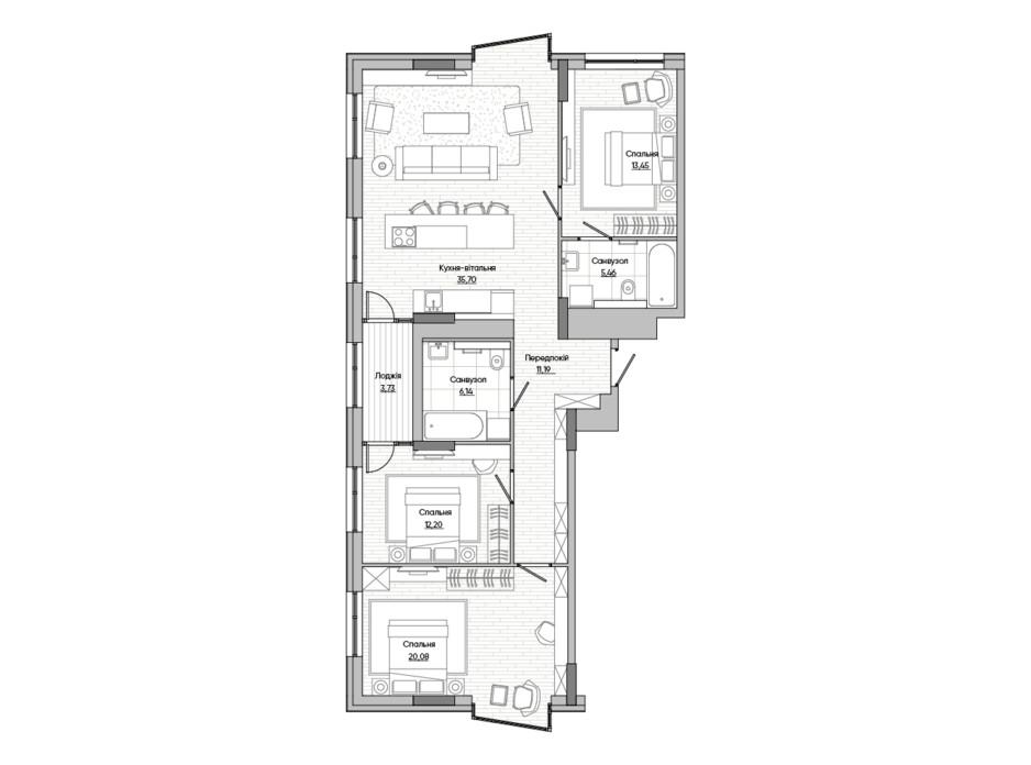 Планування 3-кімнатної квартири в ЖК Lucky Land 107.95 м², фото 251385
