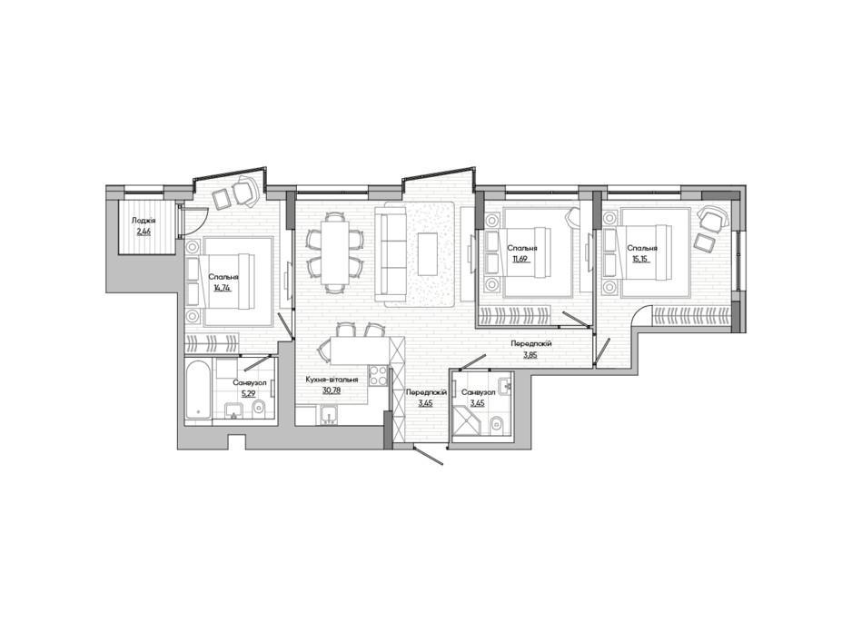 Планування 3-кімнатної квартири в ЖК Lucky Land 90.86 м², фото 251387
