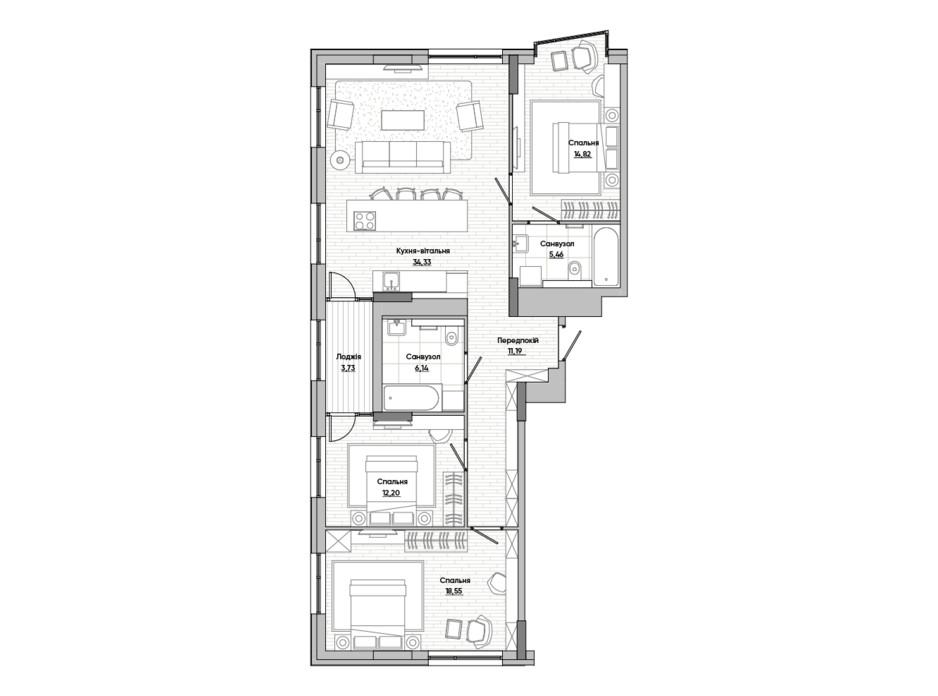 Планування 3-кімнатної квартири в ЖК Lucky Land 106.42 м², фото 251390