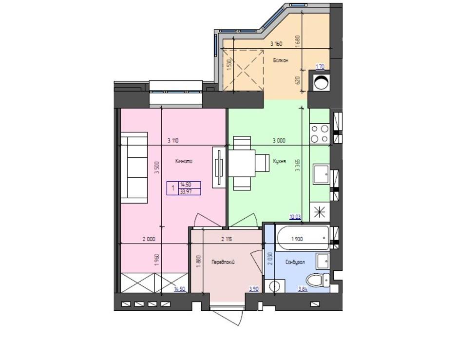 Планування 1-кімнатної квартири в ЖК Атлант 33.97 м², фото 251404