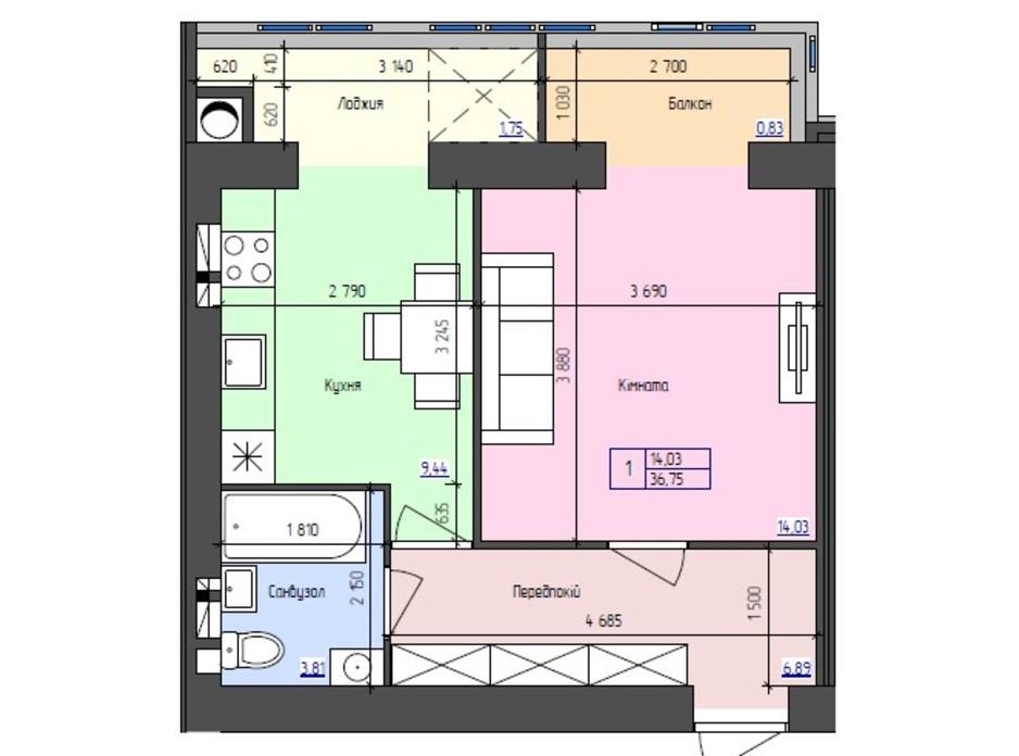 Планировка 1-комнатной квартиры в ЖК Атлант 36.75 м², фото 251405