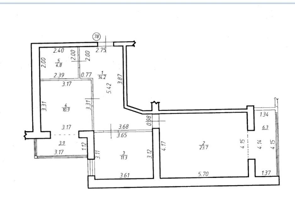 Планировка 2-комнатной квартиры в ЖК Містечко Центральне 75.1 м², фото 252052
