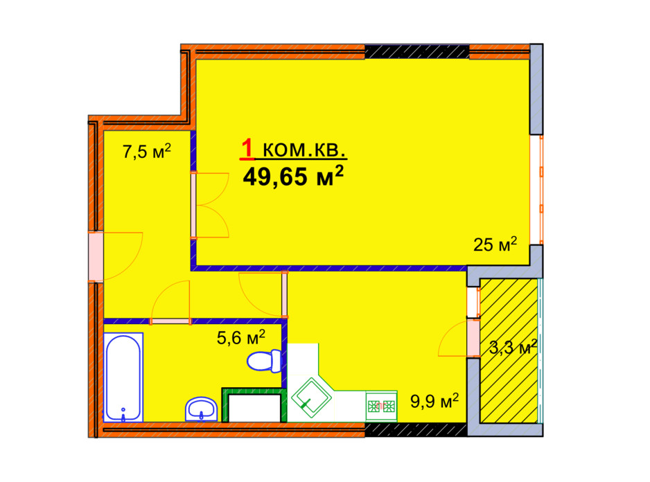 Планировка 1-комнатной квартиры в ЖК Монолит 49.65 м², фото 25297