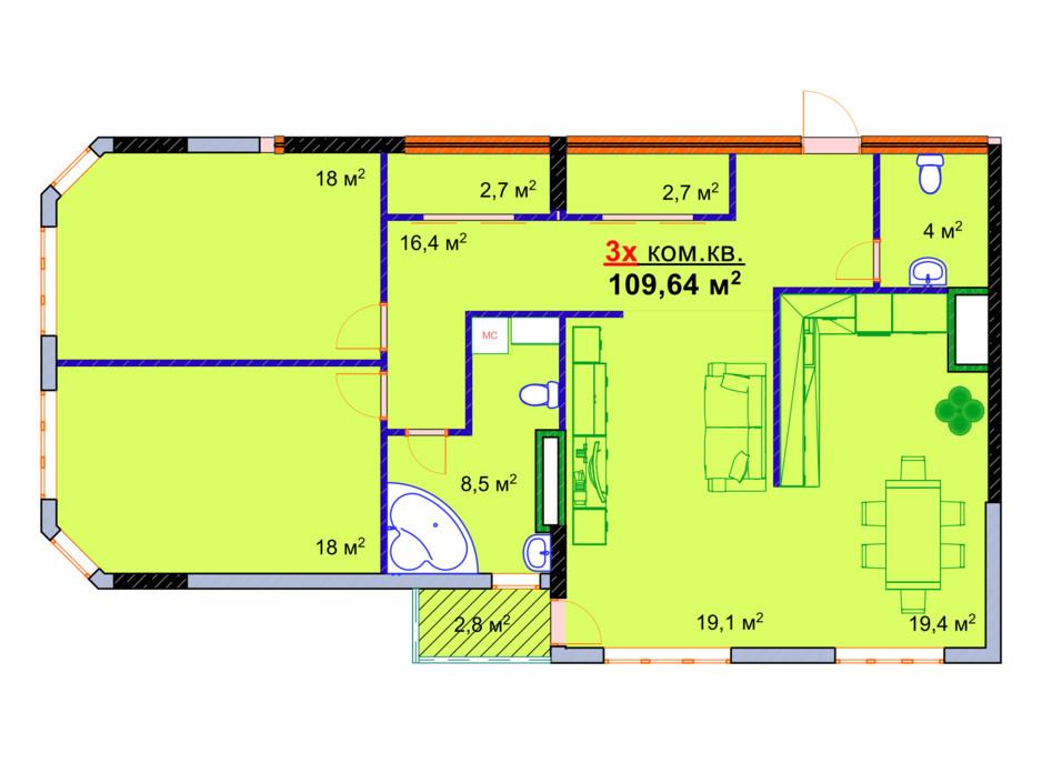 Планировка 3-комнатной квартиры в ЖК Монолит 109.64 м², фото 25300
