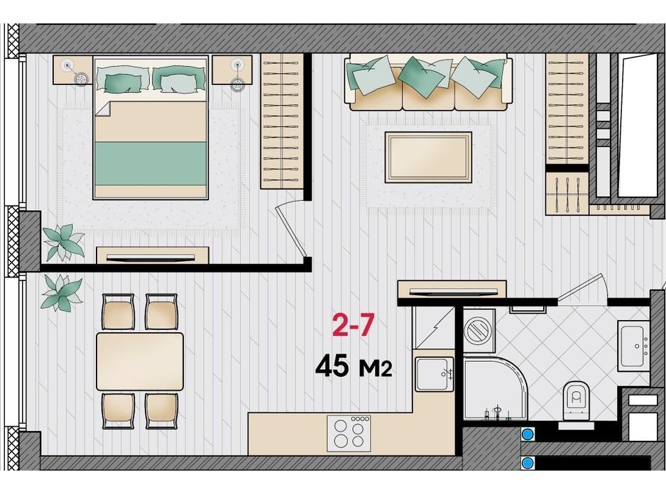 Планировка 1-комнатной квартиры в ЖК Manhattan 45 м², фото 253156