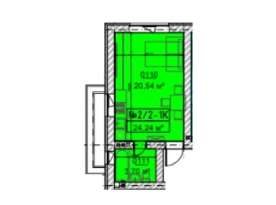 Планировка смарт квартиры в ЖК Гостомельские Липки 5 24.24 м², фото 253638