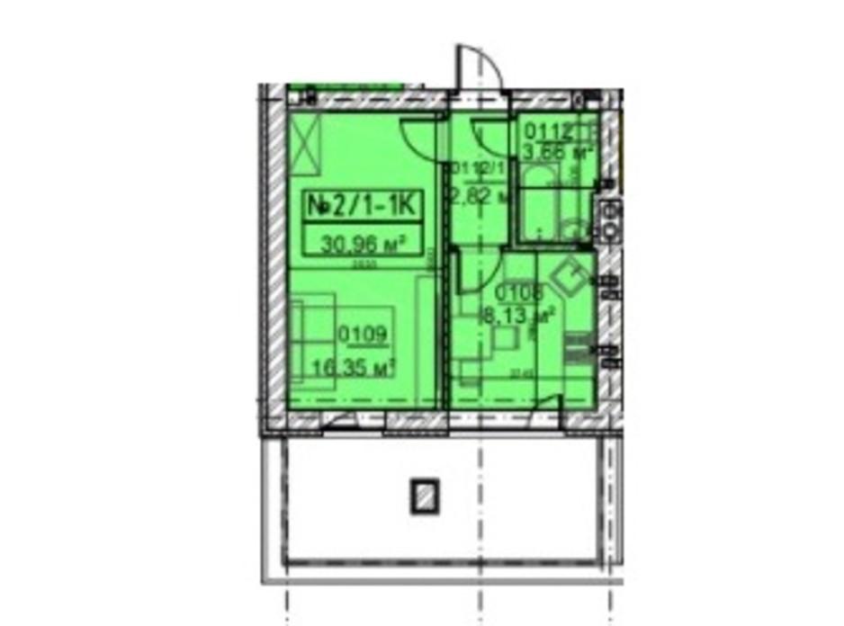 Планировка 1-комнатной квартиры в ЖК Гостомельские Липки 5 30.96 м², фото 253639