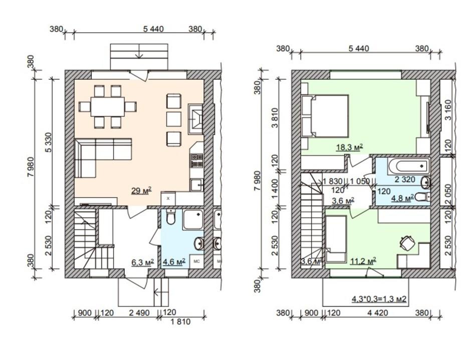 Планування багаторівневої квартири в Таунхаус Мануфактура 82.7 м², фото 253670