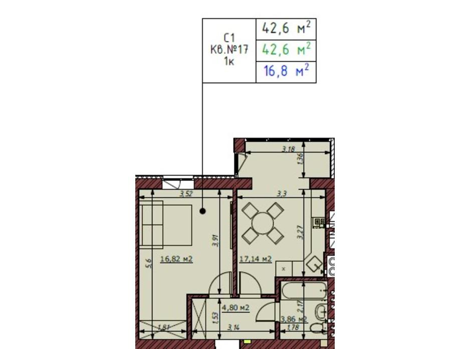 Планировка 1-комнатной квартиры в ЖК Гостомельские Липки 5 42.6 м², фото 253728