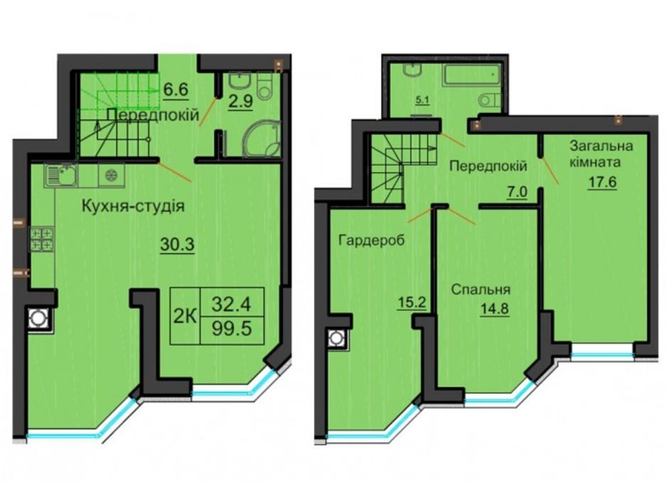 Планування багаторівневої квартири в ЖК Софія Резіденс 100 м², фото 254065