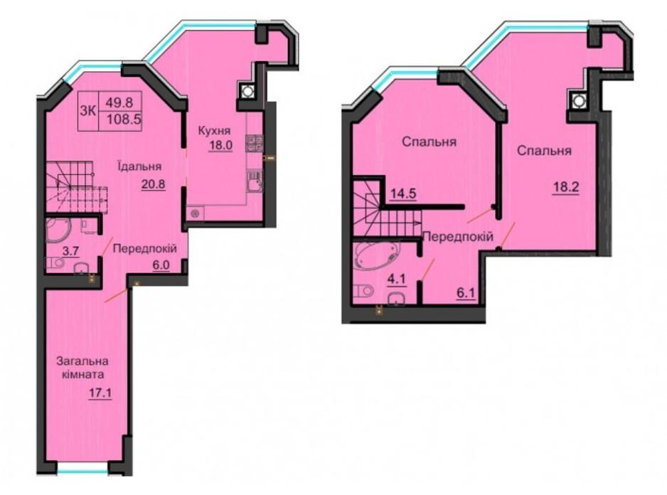 Планування багаторівневої квартири в ЖК Софія Резіденс 108 м², фото 254092