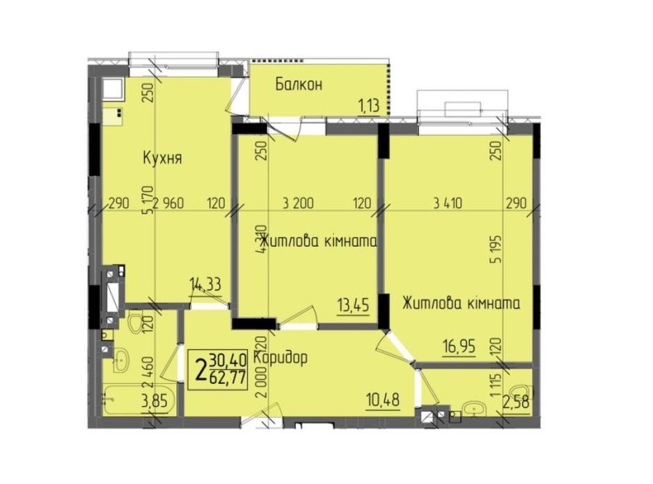 Планировка 2-комнатной квартиры в ЖК KromaxBud 62.77 м², фото 254145